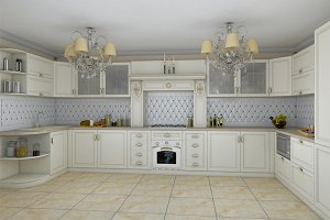 3D render of white kitchen