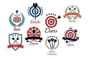 Darts sporting emblems, symbols and
