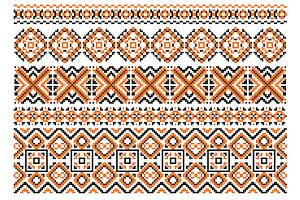 Close up cross stitch ethnic borders
