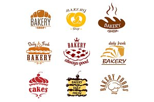 Bakery and pastry emblems or labels