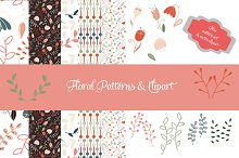 Floral pattern & clipart set