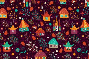 "Seamless pattern ""Town"""