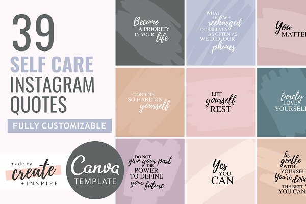 Self Care Instagram Quotes Template Creative Canva Templates Creative Market