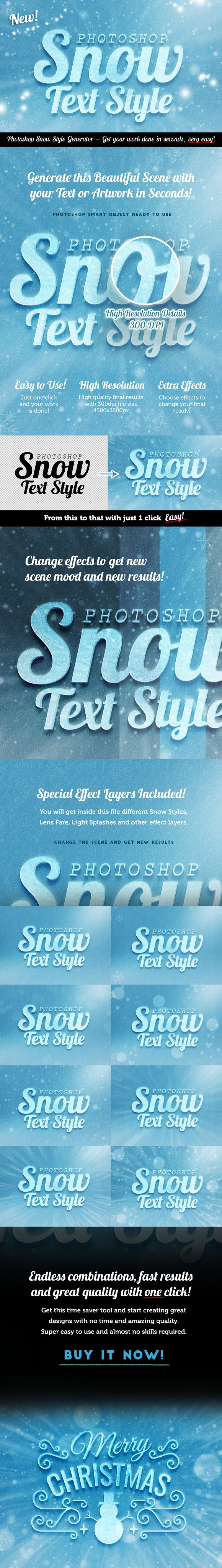 Snow Text Effect Psd for Photoshop