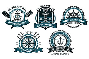 Nautical badges and emblems set in h