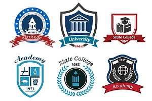 University college academy emblems