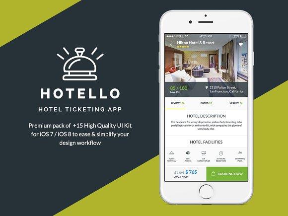 hotello hotel booking ios ui kit templates creative market