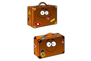 Brown travel briefcases with smiling