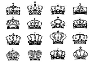 Royal crowns set in black on white b