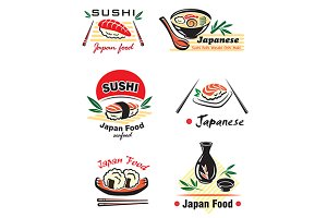 Japanese sushi seafood emblem or log