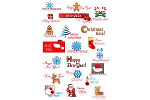 Christmas and New Year symbols set