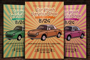 Retro Car Wash Flyer Template