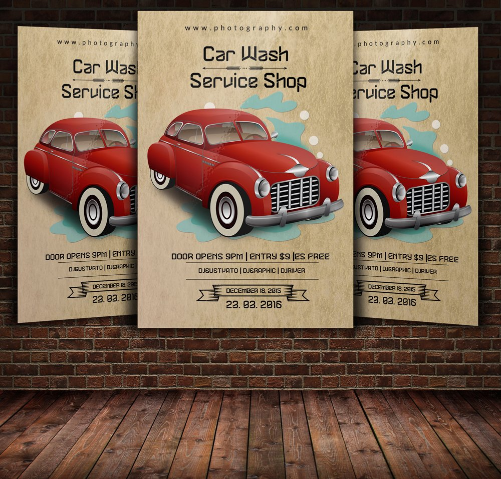 Vintage Retro Car Wash Flyer