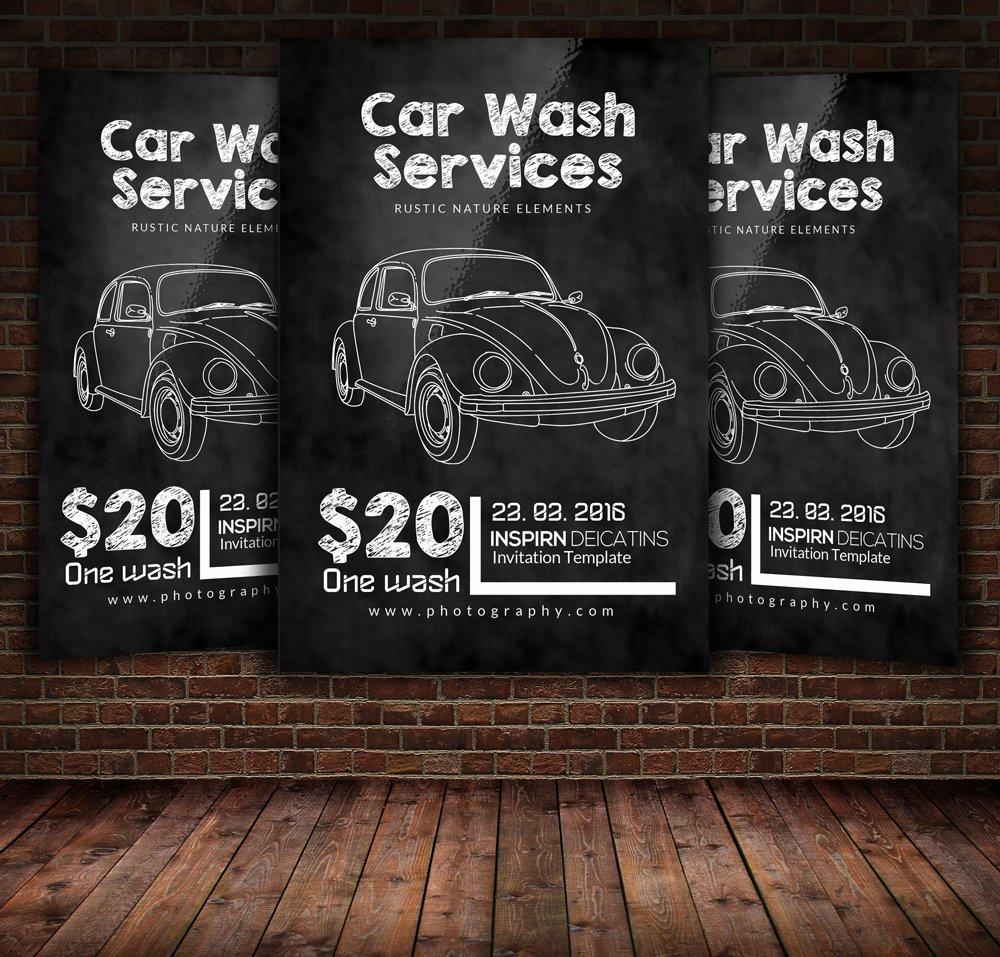 chalkboard car wash flyer template flyer templates creative market