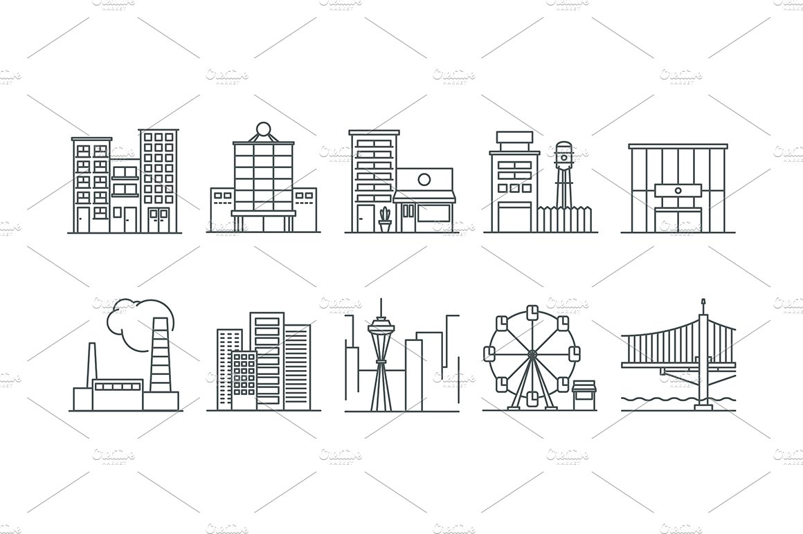 Architecture icons icons creative market for Architecture icon