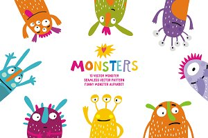 Funny monster vector set
