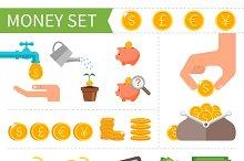 Money & Finance. Flat icons set.