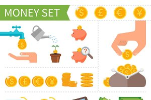 Money & Finance. Flat icons set.