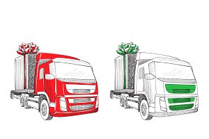 Truck with Christmas gift
