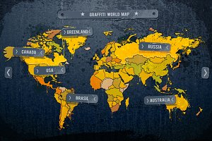 Grunge World Map Vector