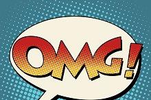 OMG surprise comic bubble retro text