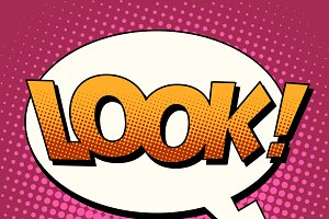 Look comic bubble retro text