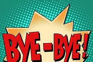 bye-bye comic bubble retro text