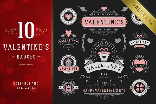 Valentine's Day Logo Badges & Label…