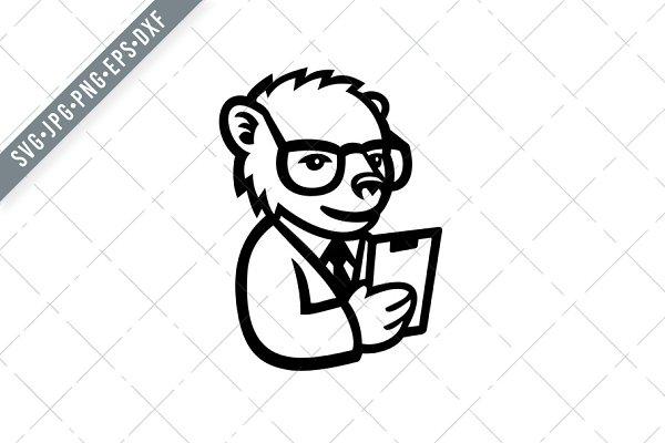 Download Nerdy Bear Scientist Mascot svg | Pre-Designed Illustrator ...