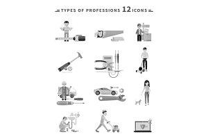 Icons Set of Tools Series Black