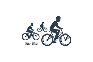 Teenagers Riding Bicycles Silhouette