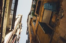 Looking up in a narrow street