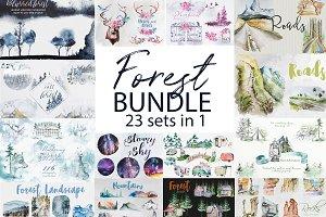 Watercolor Forest Bundle Clipart