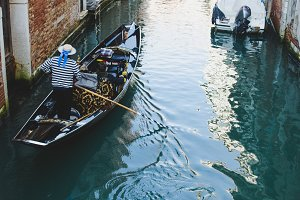 A gondolier in Venice canal