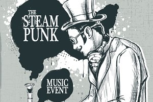 Steampunk DJ Vector #3