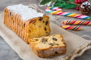 Traditional fruit cake on wood