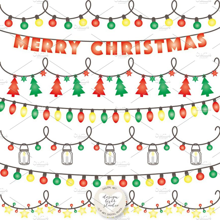 vector christmas lights cliparts illustrations creative market - Digital Christmas Lights
