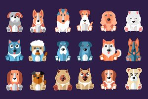 Funny cartoon dogs breeds