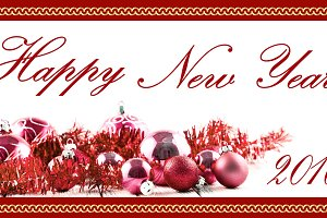 New Year red greeting card 2016