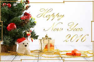 New Year golden greeting card 2016