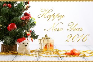 New Year gold greeting card 2016