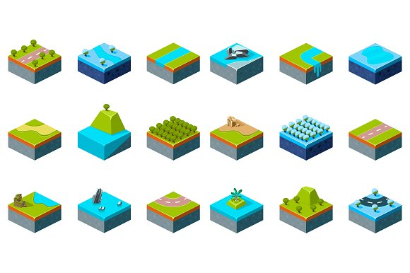 Set of Part of the map. Isometric - Illustrations