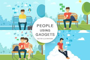 People using gadgets vector set