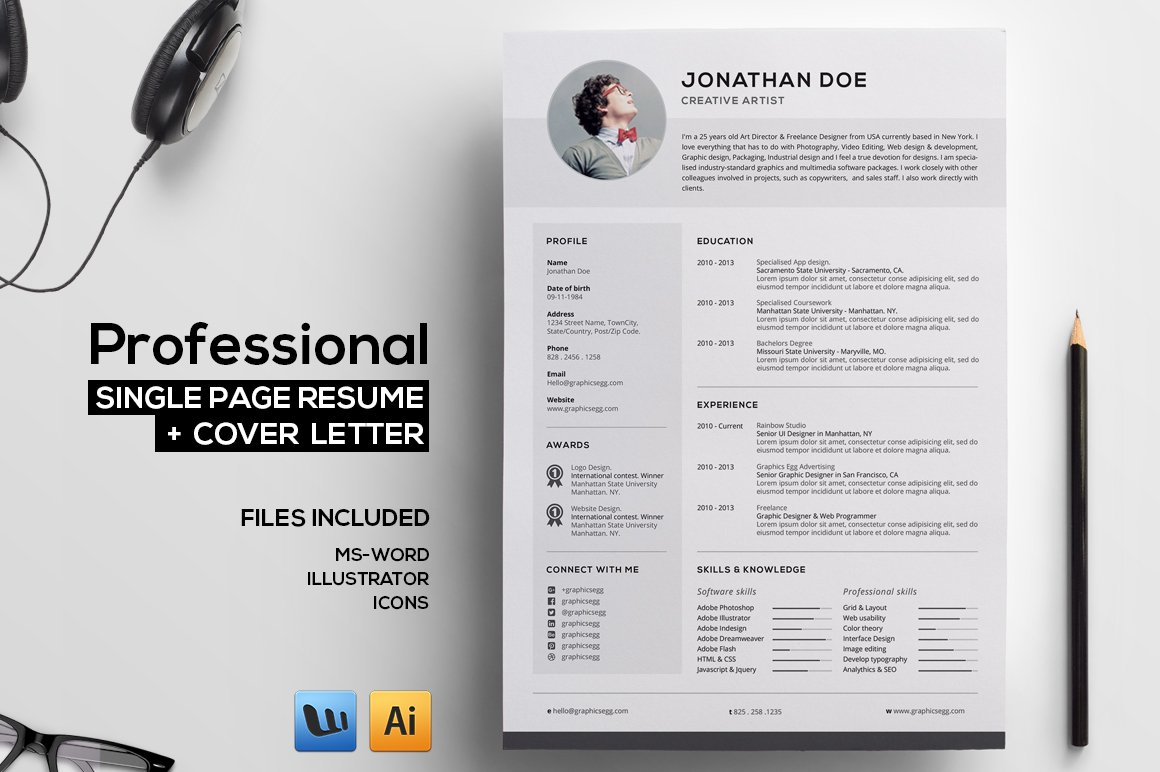 Professional Single Page Resume Resume Templates Creative Market