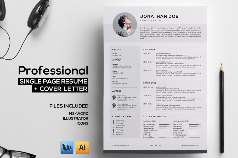 Professional Single Page Resume Templates Creative Market