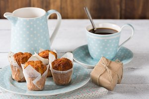 Coffee with homemade muffins