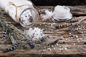 Lavender salt and dried lavender