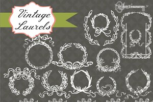 Vintage Laurels Clipart & Brushes