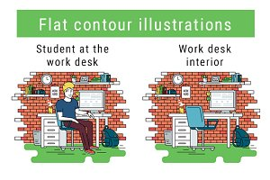 Workplace contour illustration