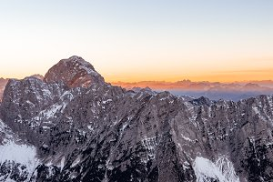Mountain panorama at sunset